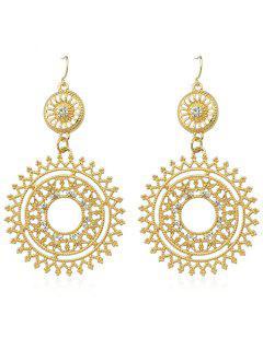 Ahueca Hacia Fuera Rhinestone Round Shaped Dangle Earrings - Oro