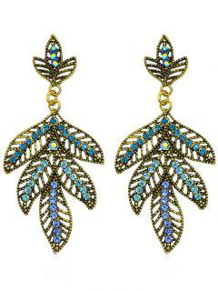Colored Rhinestone Hollow Out Leaf Drop Earrings - Blue