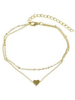 Love Heart Design Layered Chain Anklet - Gold