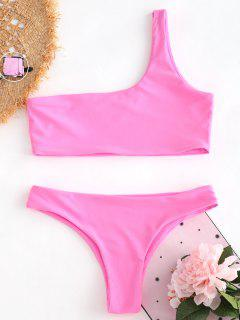 Unlined One Shoulder Bikini Set - Hot Pink S