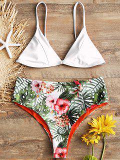 Conjunto De Bikini De Talle Alto Con Estampado De Hojas De Cami - Blanco M