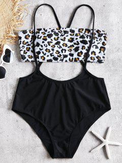 Bandeau Leopard Top Y Cintura Alta Swim Bottoms - Negro L