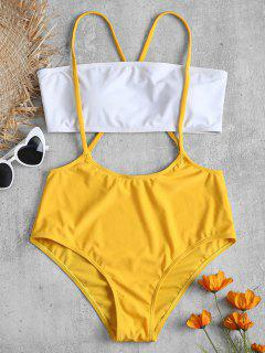 Two Tone Bandeau Top And Crisscross Straps Swim Bottoms - Bright Yellow M