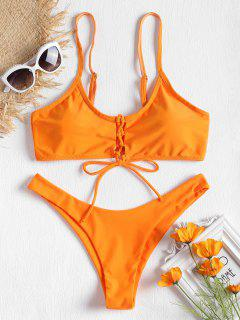 Vorderer Schnürung Bikini Mit Niedrige Taille - Orange M