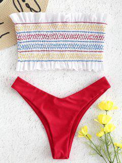 Ensemble De Bikini Bandeau Smocké Zigzag à Volant - Rouge Amour L