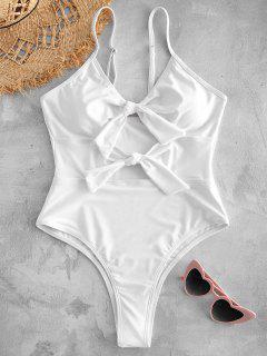 Front Tie Cutout High Leg Swimwear - White S