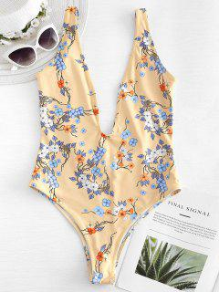 Flower Plunge Open Back Swimsuit - Yellow S