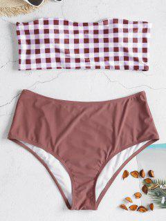 Plaid High Waisted Plus Size Bikini Set - Rosy Finch 1x