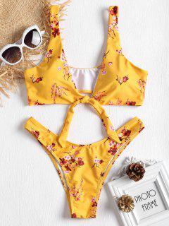 Bikini à Décolleté Plongeant Noué Et Motif Fleurs De Prunier  - Jaune Canard Caoutchouc L