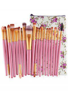 Professional 20Pcs Ultra Soft Foundation Eyebrow Eyeshadow Concealer Brush Set With Bag - Pig Pink