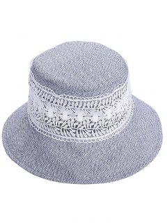 Vintage Hollow Out Lace Bucket Sun Hat - Blue Gray