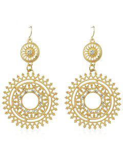 Hollow Out Rhinestone Round Shaped Dangle Earrings - Gold