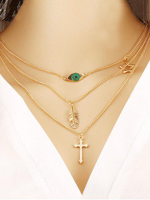 Estrela sai cruz decoração camada colar - Ouro  Mobile