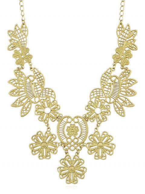 Aushöhlen Floral Elegant Anhänger Halskette - Gold  Mobile