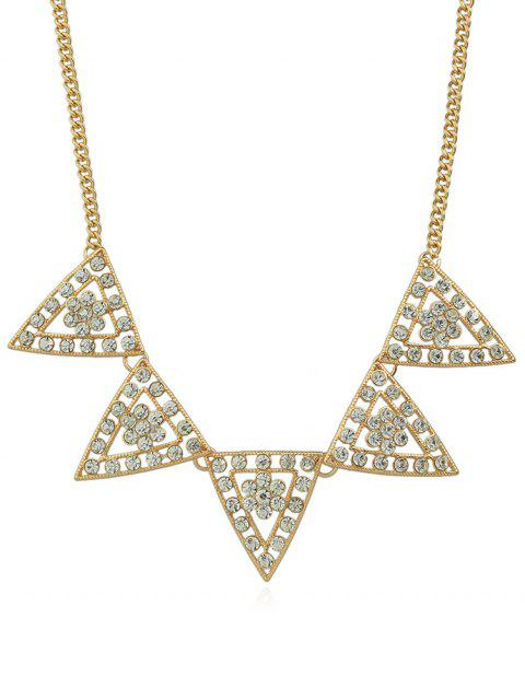 hot Triangle Designed Rhinestone Chain Necklace - GOLD  Mobile