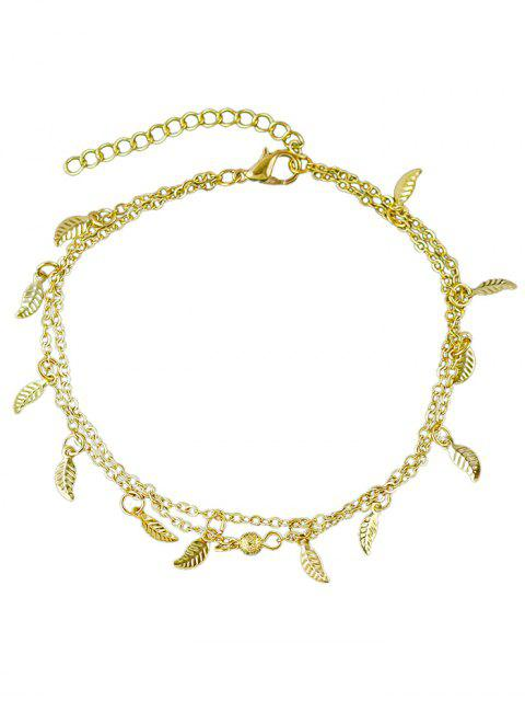 outfits Leaves Design Layered Chain Anklet - GOLD  Mobile