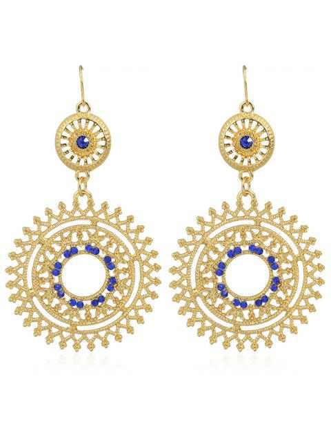 shop Hollow out Rhinestone Round Shaped Dangle Earrings - BLUE  Mobile
