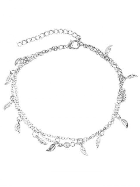 shops Leaves Design Layered Chain Anklet - SILVER  Mobile