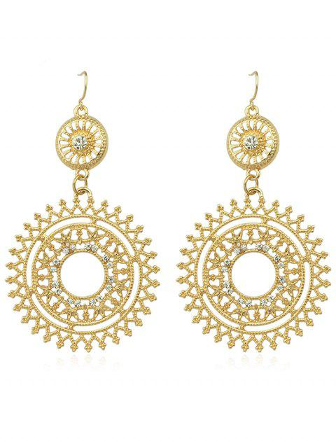 latest Hollow out Rhinestone Round Shaped Dangle Earrings - GOLD  Mobile