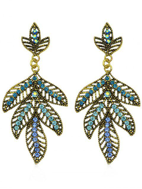 trendy Colored Rhinestone Hollow Out Leaf Drop Earrings - BLUE  Mobile