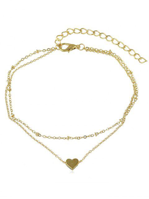 fashion Love Heart Design Layered Chain Anklet - GOLD  Mobile