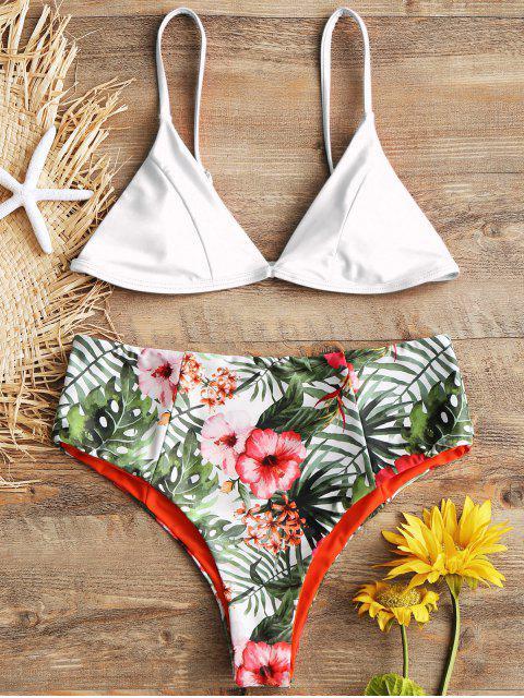 Ensemble Bikini à Taille Haute à Imprimé Feuille avec Bretelles Fines - Blanc L Mobile