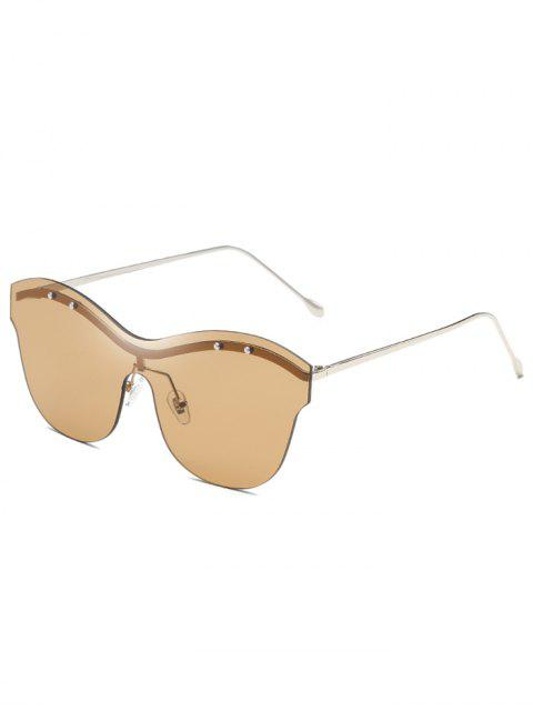 hot Anti Fatigue Rivets One Piece Rimless Sunglasses - CAMEL BROWN  Mobile