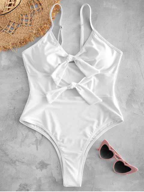womens Front Tie Cutout High Leg Swimwear - WHITE L Mobile