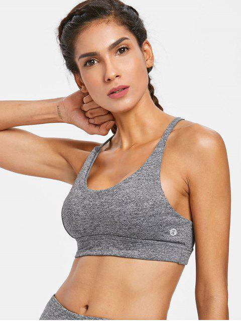 sale Mesh Inset Mid Impact Sports Bra - GRAY L Mobile