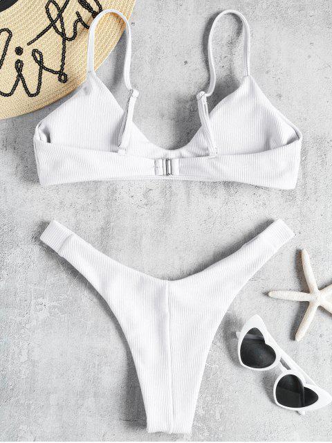 affordable High Leg Ribbed Bikini Set - WHITE L Mobile