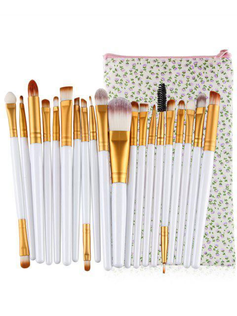 buy Professional 20Pcs Ultra Soft Foundation Eyebrow Eyeshadow Concealer Brush Set with Bag - WHITE  Mobile