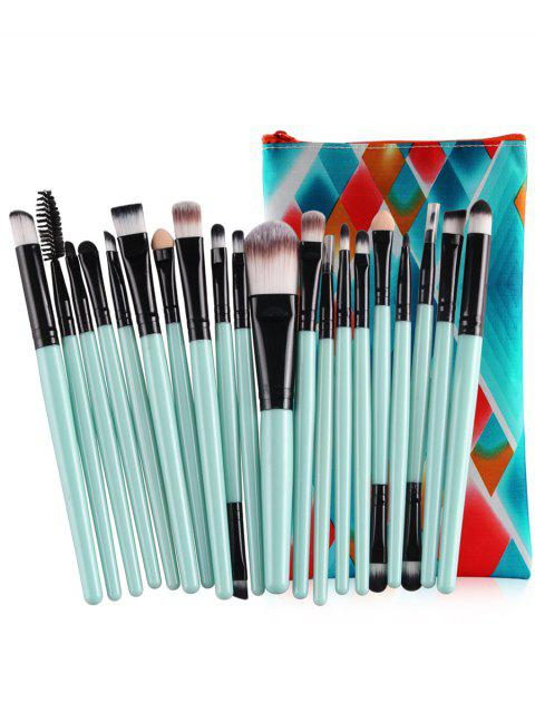 women Professional 20Pcs Ultra Soft Foundation Eyebrow Eyeshadow Concealer Brush Set with Bag - CYAN OPAQUE  Mobile