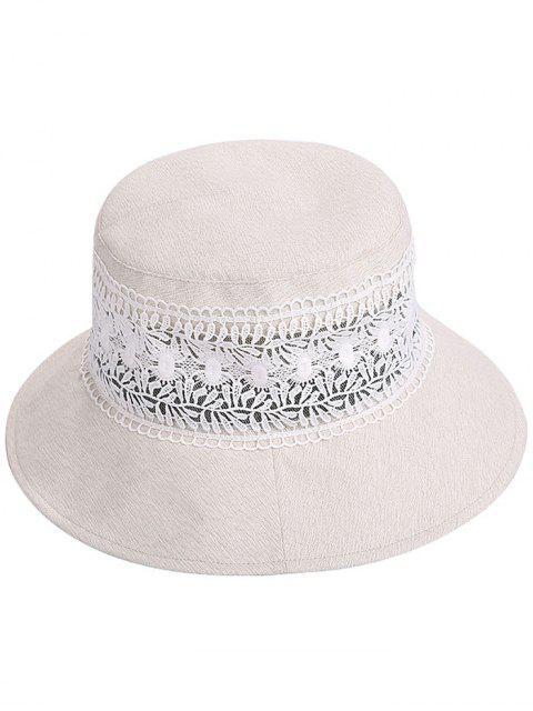 Vintage Hollow Out Lace Bucket Sun Hat - Beige  Mobile