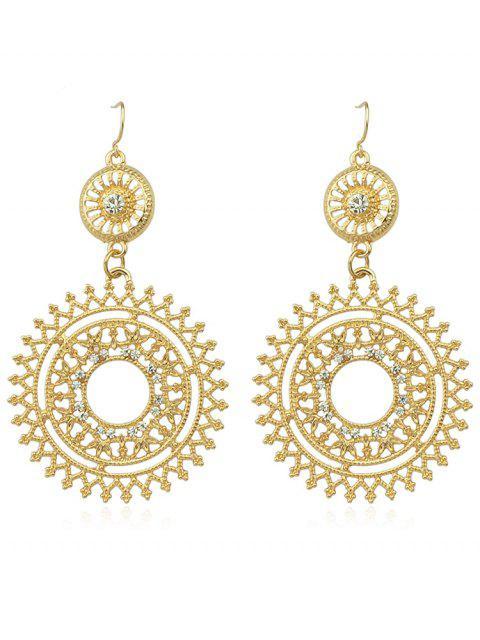Ahueca hacia fuera Rhinestone Round Shaped Dangle Earrings - Oro  Mobile