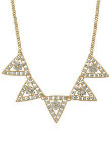 مثلث تصميم حجر الراين سلسلة قلادة - ذهب