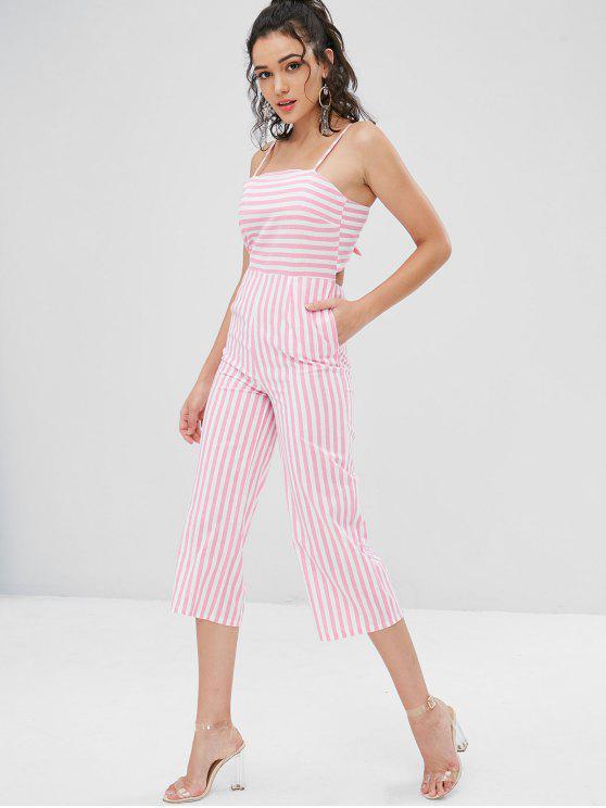 Cami Riemchen Rücken Gestreiftes Breites Bein Jumpsuit - Pink M