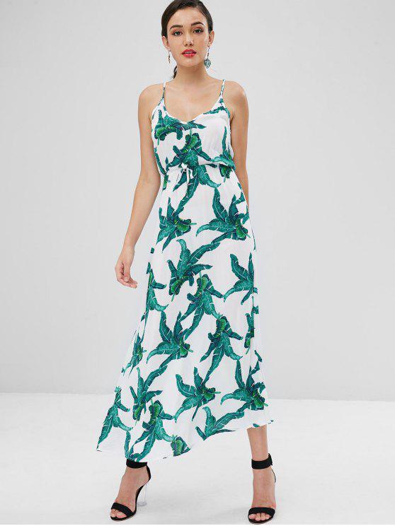 Cami Palm Imprimir Maxi Beach Dress - Branco L