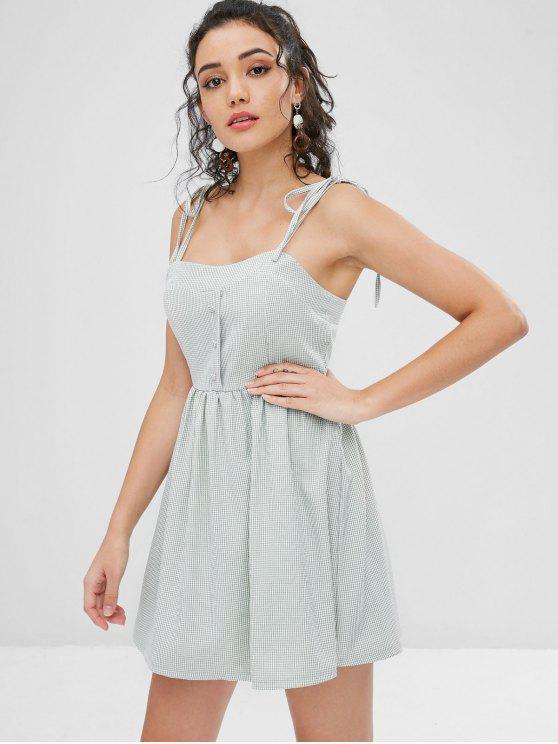 Robe Cami En Vichy Nouée à l'Épaule - Cyan Opaque M
