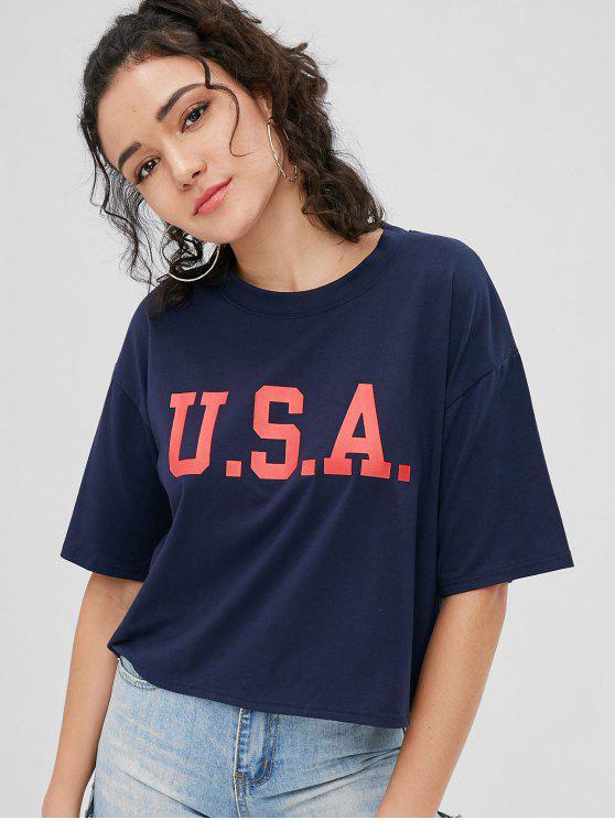 T-Shirt A Spalle Oblique Con Lettere USA - Blu Mezzanotte  XL
