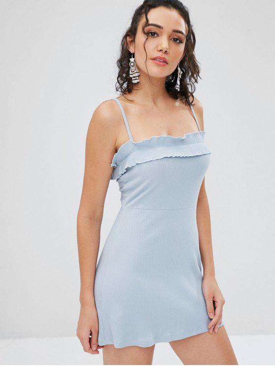 chic Ruffles Ribbed Cami Dress - LIGHT BLUE L