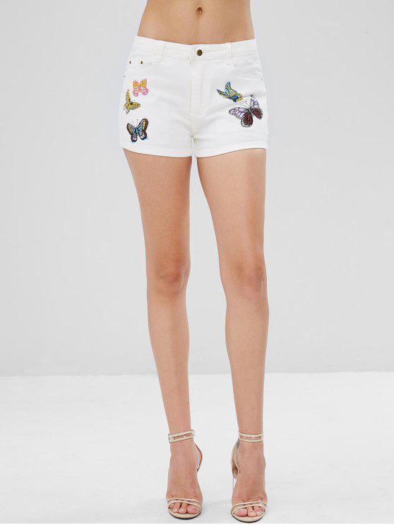 buy Pockets Butterfly Print Denim Shorts - WHITE M
