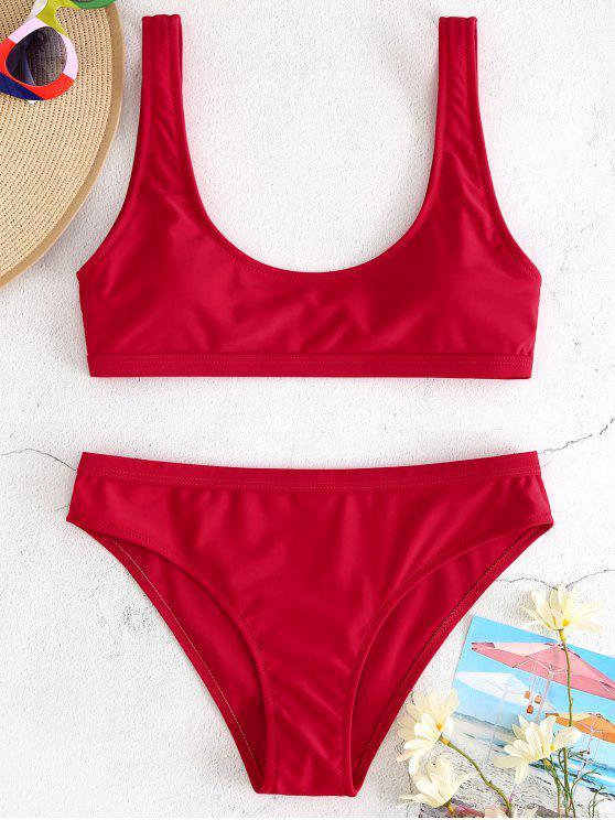 fancy Sport Tank Bikini Set - CRANBERRY M