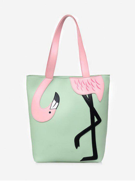 Flamingo exterior chique Embellished Color Block Bolsa De Ombro - Verde