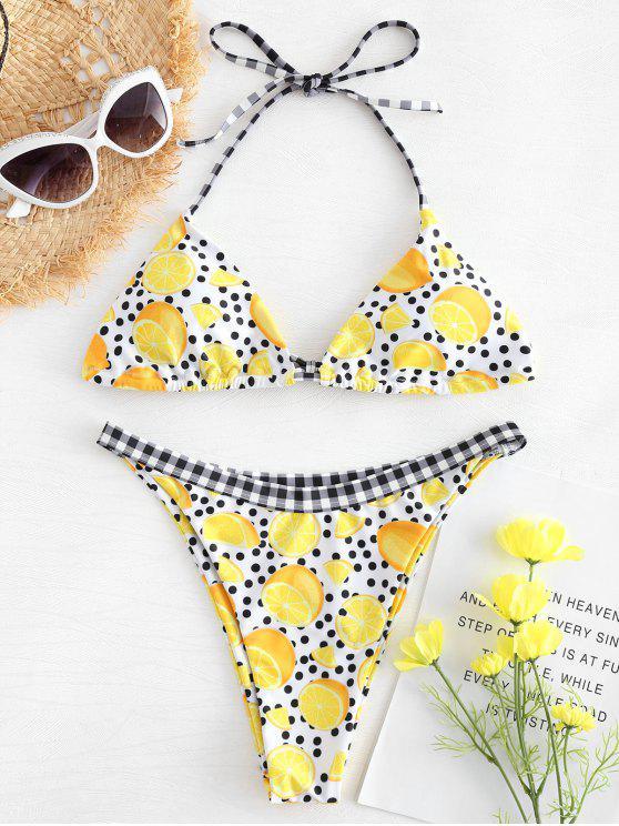 affordable Lemon Dots Print Bikini - MULTI S