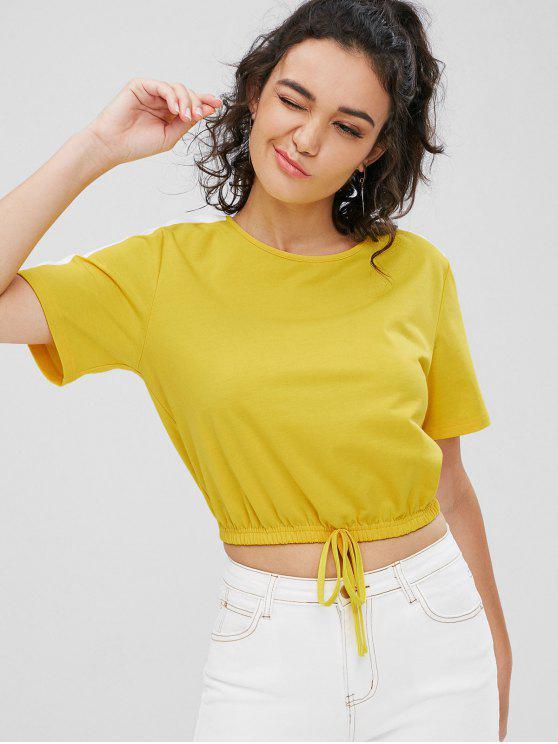 T-shirt Contrasté Embelli De Nœud Papillon - Jaune S