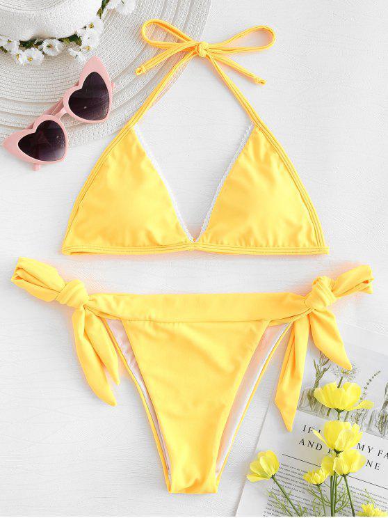 Bikini con lazo lateral con borde de encaje - Caucho Ducky Amarillo S
