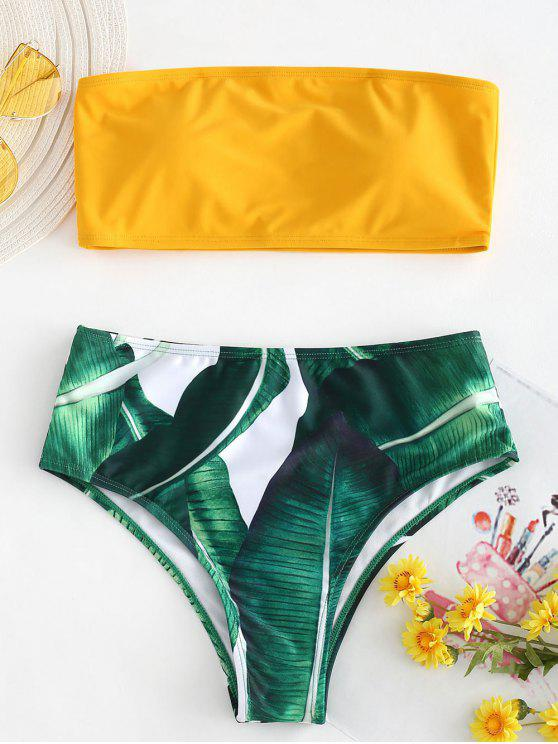 women Palm Leaf Strapless High Cut Bikini Set - RUBBER DUCKY YELLOW M