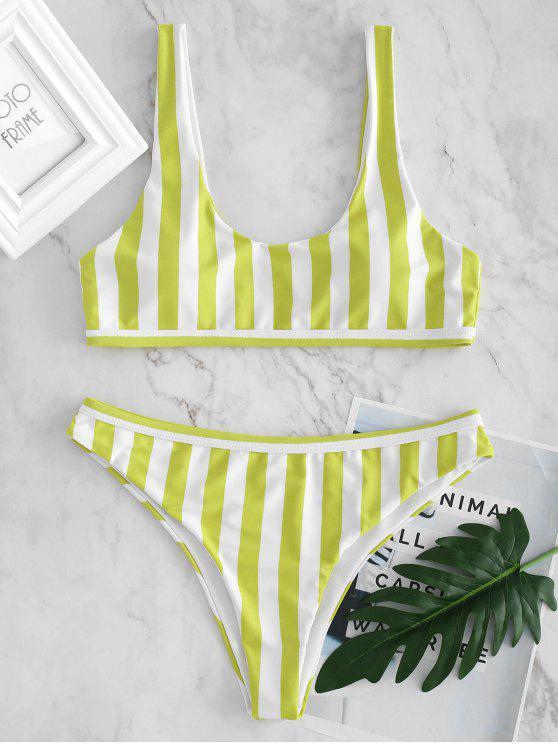 Bikini A Righe A Vita Bassa Con Scollo A U - Verde Limo L