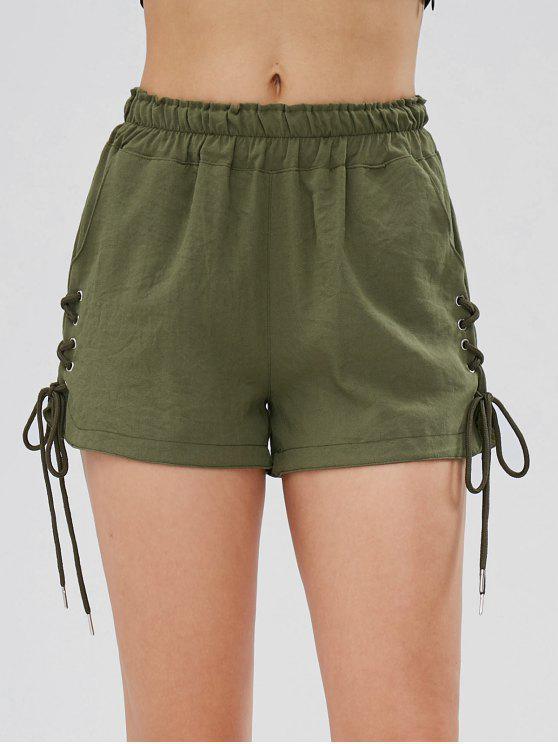 Pantaloncini A Vita Alta Con Lacci E Tasche - Verde Dell'esercito XL