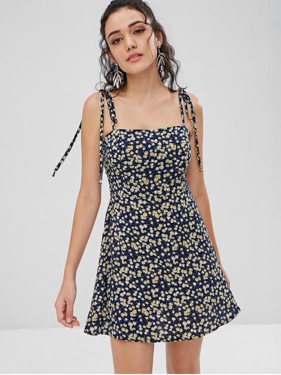 latest ZAFUL Floral Tie Strap Apron Mini Sundress - DEEP BLUE S